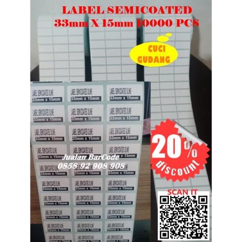 Foto Produk 33x15 | 33 X 15 STIKER LABEL BARCODE BAHAN SEMICODE | SEMICOTED 10000 dari JUALAN BAR CODE