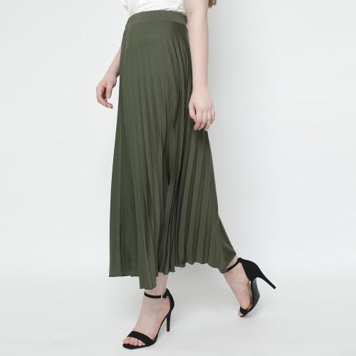 Foto Produk Eiza by duapola Plisket Aline Maxi Skirt 7176 - Green Army dari Eiza