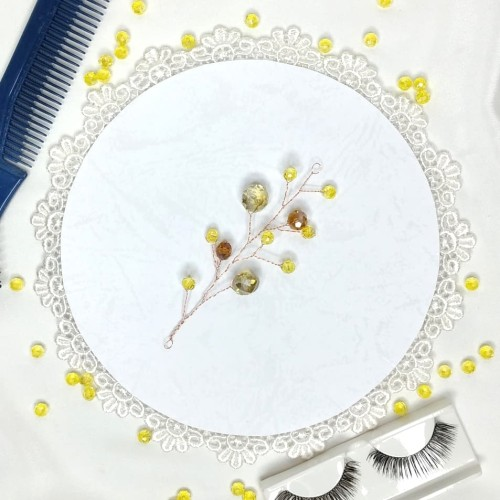 Foto Produk Aksesoris asesoris hairpin headpiece rambut sanggul KUNING dari Natalia the Princess