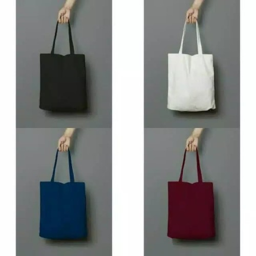 Foto Produk (Pakai resleting) Tote bag polos/totebag/semi kanvas/anti air - Hitam dari RIZKIBAG