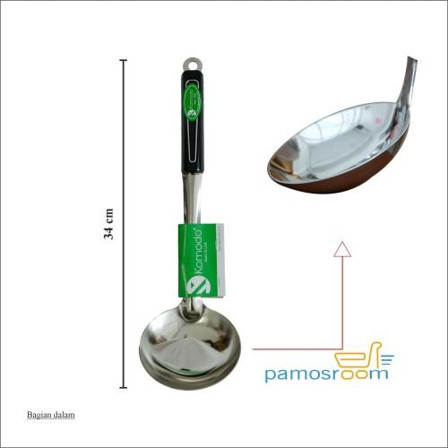 Foto Produk Komodo Irus Stainless Gagang Hitam Centong Gagang Anti Panas 34cm dari Pamosroom Living