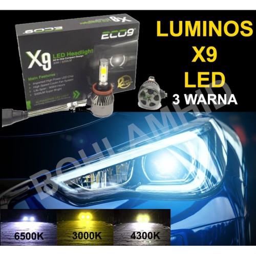 Foto Produk LED Mobil Luminos ECO9 X9 H11 H16 30W 3 Warna Bohlam Headlamp Foglamp dari Bohlam HID