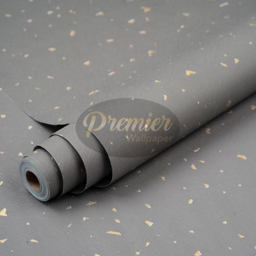 Foto Produk Wallpaper Classic Plain Abu dengan Corak Emas | 45CM x 10M dari Premier Wallpaper