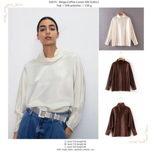 Foto Produk 54675 Beige Coffee Loose Silk Top / Blouse Krem Cokelat Lengan Panjang dari XineShop