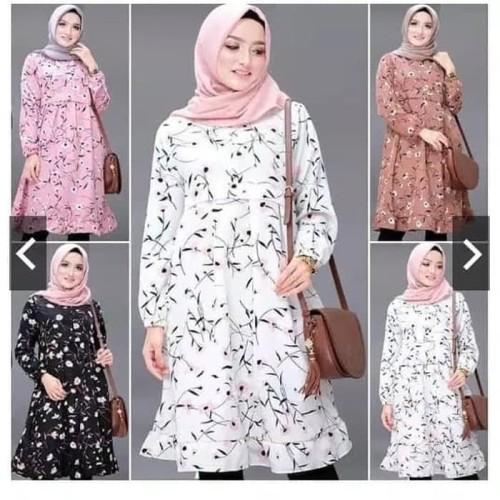 Foto Produk Baju Atasan Wanita Kemeja Tunik Motif Flower Good quality - Putih dari My1stShop
