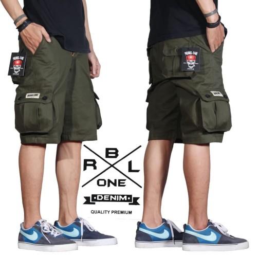 Foto Produk celana cargo pendek pria terlaris premium - Hijau dari playjeans