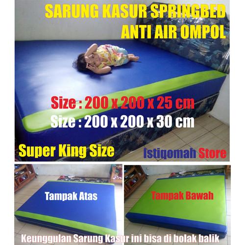 Foto Produk Size 200x200x20 cm Sarung Kasur Springbed Anti Air Ompol Solusi Banjir - Biru Hijau dari Istiqomah-Store
