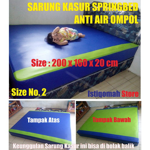Foto Produk Size 200x160x20 cm Sarung Kasur Springbed Anti Air Ompol Solusi Banjir - Biru Hijau dari Istiqomah-Store