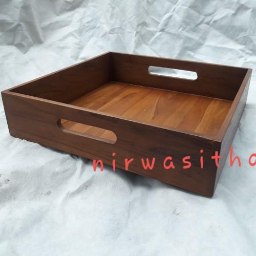 Foto Produk Kotak serahan Nampan box kayu Jati 40x40x8cm dari Lean Furniture