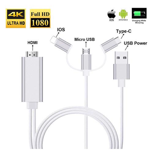 Foto Produk Kabel HDMI 3 in 1 Type C/Lightning/Micro USB (2M) for iphone android - Putih dari Majek Ilak Tech Store