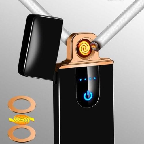 Foto Produk Korek api elektrik Mini Unik Fingerprint Sensor LED Lighter USB 517 dari lbagstore