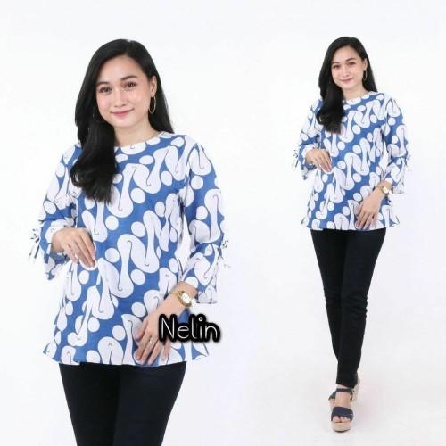Foto Produk Blouse Batik_ Atasan Batik Wanita Kutubaru Modern - VARIAN SIZE, S - Biru dari blouse_batik