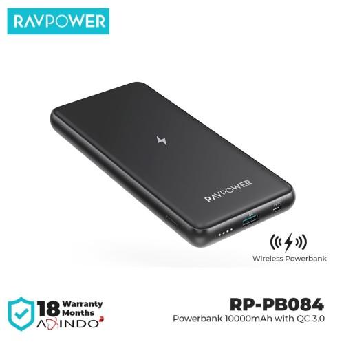 Foto Produk RAVPower Wireless Powerbank 10000mAH QC3.0 Black [RP-PB084] dari RAVPower Official Store