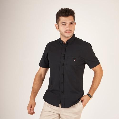 Foto Produk baju cowok hitam polos pria lengan pendek slimfit / kemeja hitam pria - Putih, L dari Brotherholicstore