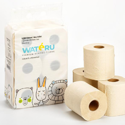 Foto Produk Wateru Premium Bamboo Tissue - Toilet Tissue (6 rolls x 200s) dari Chubby Baby Shop