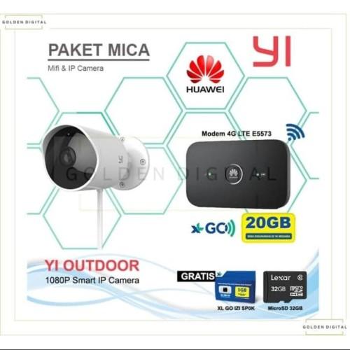 Foto Produk Xiaomi To outdoor IP kamera 1080p + mifi Huawei e5573 + XL 20gb 6 bula dari Autoloot