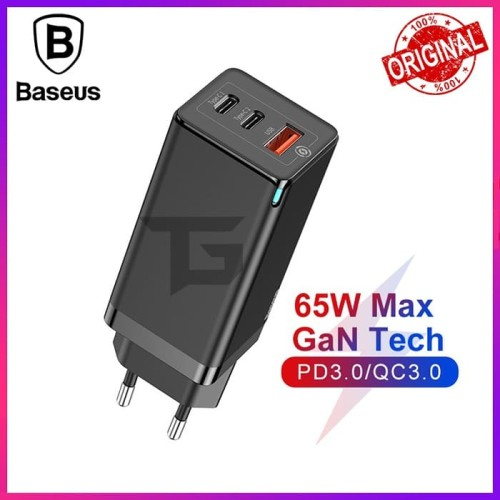 Foto Produk BASEUS GaN Fast 65W Travel Charger PD Power Delivery Fast Charging SCP dari TopGear Superhero ID