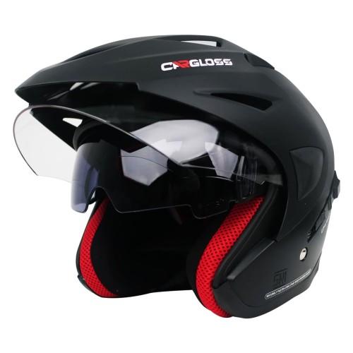 Foto Produk Helm Cargloss CDV CR Helm Half Face Double Visor - Deep Black SG - L dari Helm Cargloss