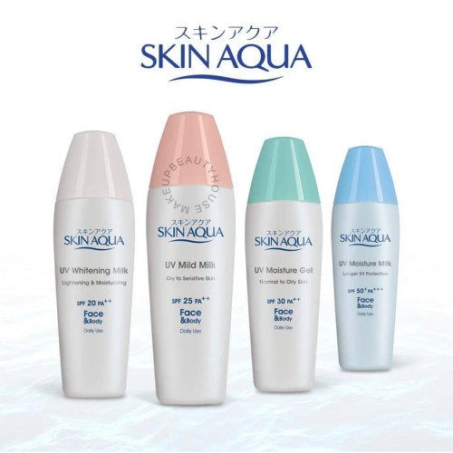 Foto Produk SKIN AQUA Sunscreen Series (Moisture Milk/ Moisture Gel/ Whitening) - Mild Milk PINK dari Pesona Ayu Indonesia