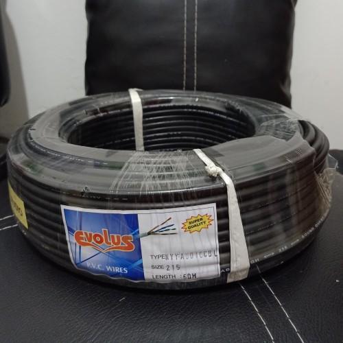 Foto Produk Kabel listrik Serabut Tebal 2x1.5 mm 50M Evolus Hitam Putih NYYHYO / N - Hitam dari Ruyigoldshop