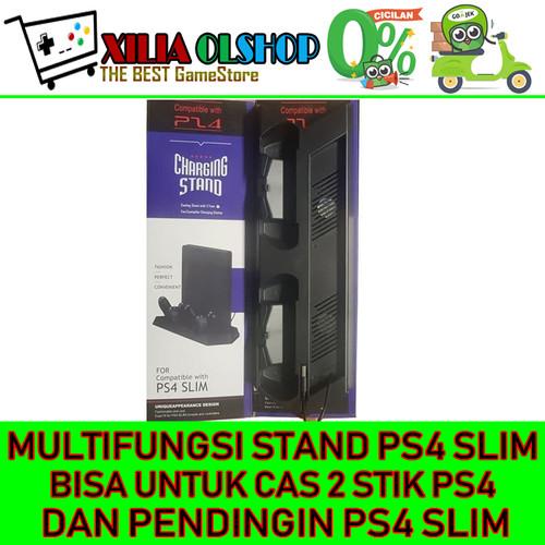 Foto Produk MULTIFUNCTION FAN COOLING CHARGING DOCK VERTICAL STAND PS 4 PS4 SLIM dari XILIA OLSHOP