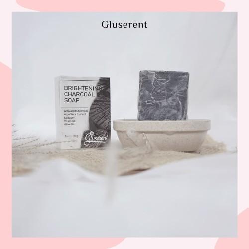 Foto Produk Gluserent Sabun Charcoal Isi 1 Sabun Arang Detox Kulit Pemutih Badan dari DELASHA STORE