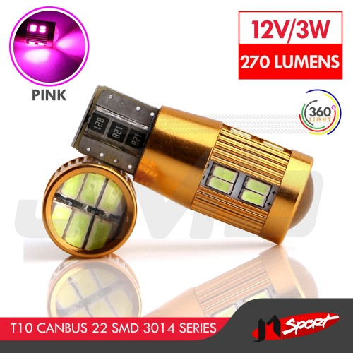 Foto Produk Lampu LED Senja T10 w5w / Wedge Side CANBUS 22 SMD 3014 - Pink dari Jaya Motorsport