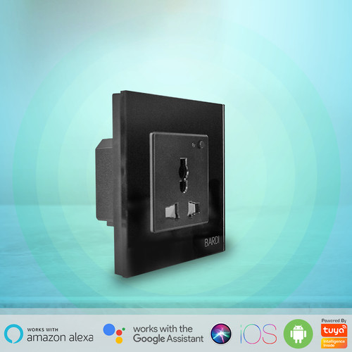 Foto Produk BARDI Smart Wall Socket Wifi UNI Black For Alexa GoogleHome Automation - Hitam dari Bardi Official Store