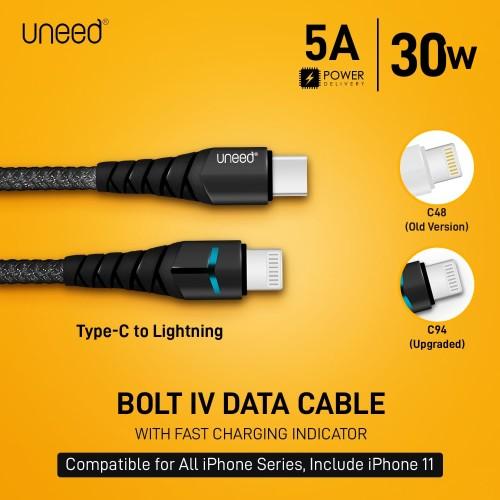 Foto Produk UNEED Bolt IV Kabel Data Type C to Lightning PD 3.0 30watt - UCB41Ci dari Uneed Indonesia