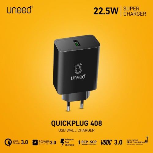 Foto Produk UNEED QuickPlug Fast Charge VOOC 3.0 / Dual Engine / QC 3.0 - UCH408 dari Uneed Indonesia