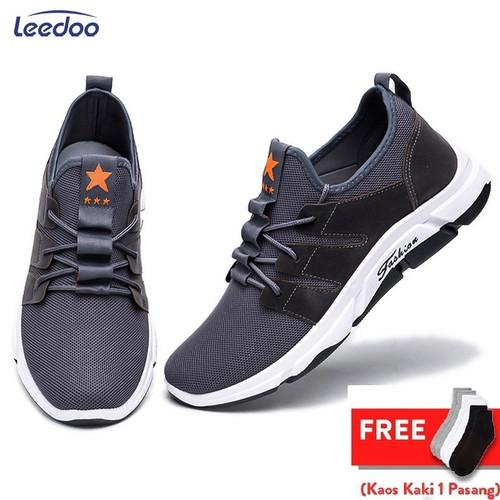 Foto Produk Leedoo Sepatu Sneakers Pria Import Sepatu Pria Casual MR202 - Abu-abu, 39 dari Leedoo