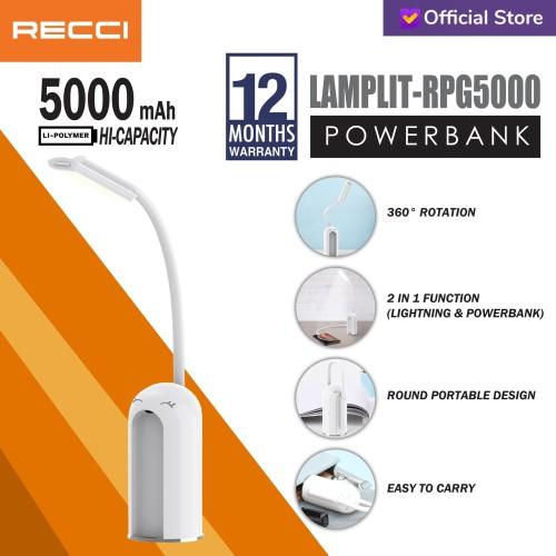 Foto Produk Recci Power Bank+Lamp LAMPLIT RPG-5000 5000Mah Putih - Putih dari Recci Official Shop ID