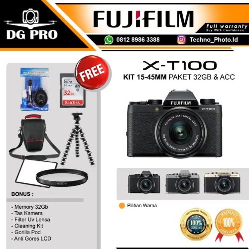 Foto Produk FUJIFILM X-T100 KIT 15-45MM - FUJI XT100 - XT 100 PAKET 32GB & ACC - GOLD, PAKET NON BONUS dari DG PRO
