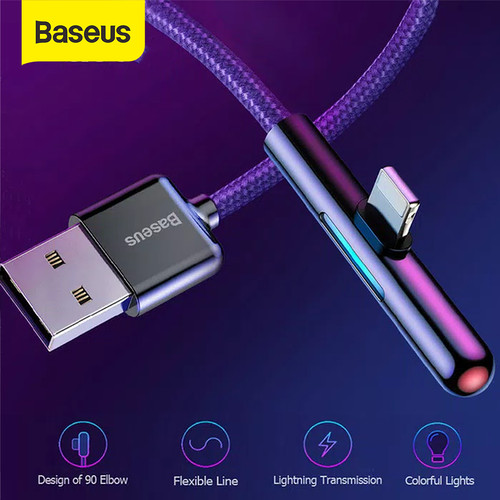 Foto Produk BASEUS KABEL DATA USB GAME MOBILE IPHONE LIGHTNING LED 2.4A 1M - Ungu dari Baseus Official Store