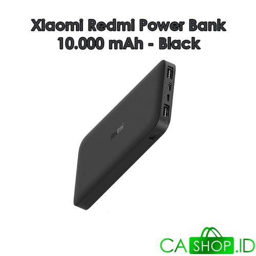 Foto Produk Xiaomi Redmi Power Bank 10000mAh Port Ganda ORI 100% GRS Resmi TAM - Hitam dari CA Shop
