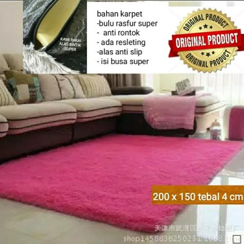 Foto Produk Karpet bulu SUPER 200 X 150 CM TEBAL4 CM Anti Slip bintik - Hitam dari BROUMmedia