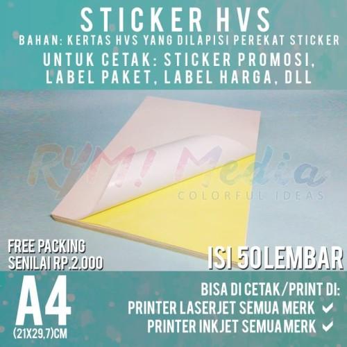 Foto Produk Kertas Sticker HVS A4 isi 50 Lembar / Stiker Doff A4 dari RYM Media
