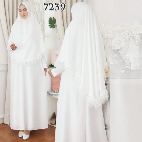 Foto Produk Gamis Putih Premium / Gamis Lebaran / Gamis Syari / Gamis Pesta - 7239 dari Hitjab & Co