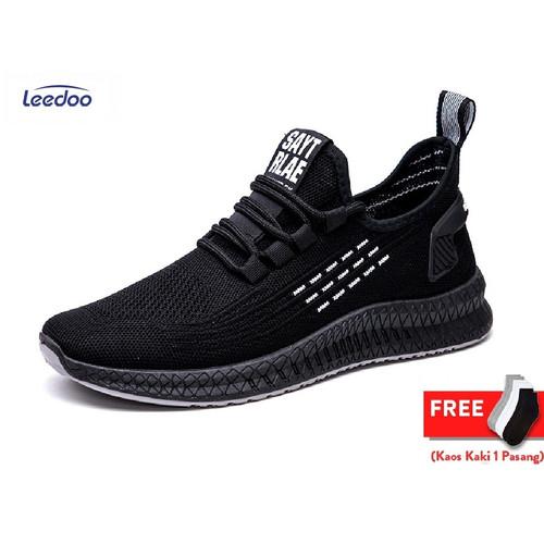 Foto Produk Leedoo Sepatu Pria Fashion Sneakers MR110 - Hitam, 41 dari Leedoo