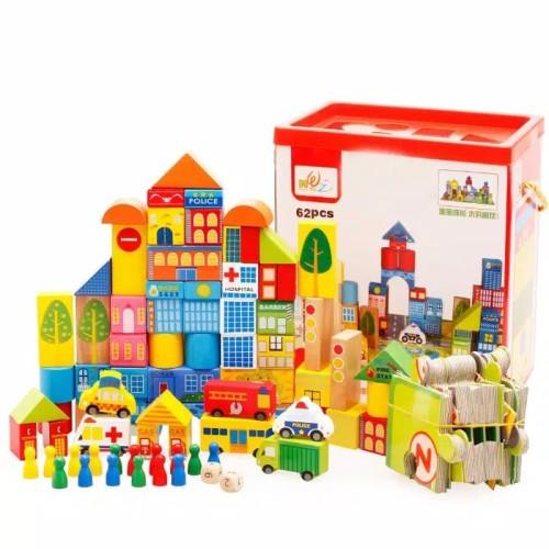 Foto Produk Mainan Edukasi Wooden Toys Transportasi 62pcs dari Olive Tree Indonesia