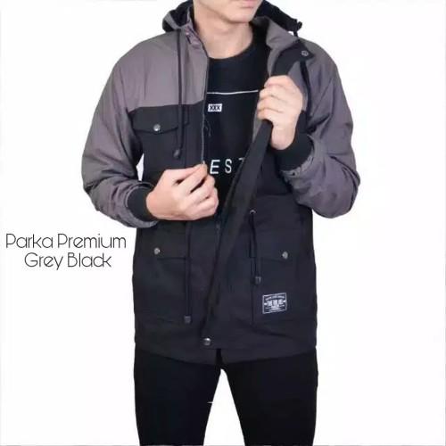 Foto Produk Jaket Parka Kombinasi Grey Black - Grey Black, L dari R7-store9
