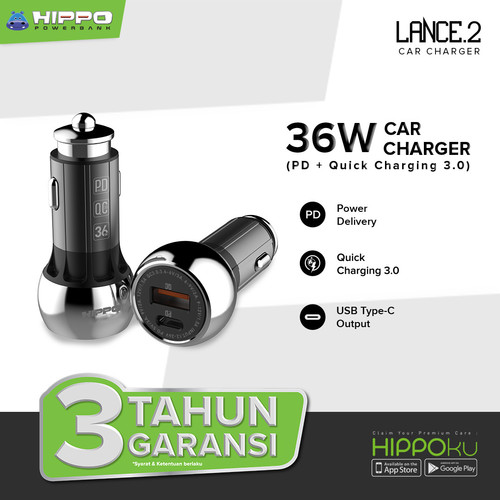 Foto Produk Hippo Lance 2 Car Charger Mobil 36W Quick charge 3 Power Delivery 18w - Hitam dari Hippo Store