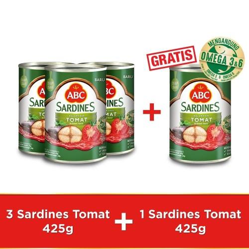 Foto Produk ABC Sarden Saus Tomat 425 g - Buy 3 pcs Get 1 pcs Free dari HEINZ ABC Official Store