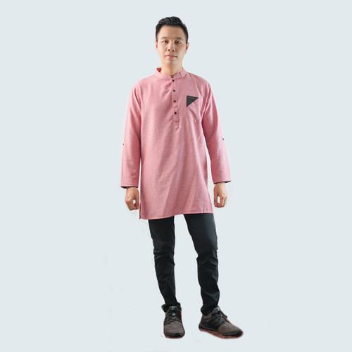 Foto Produk Baju koko kurta pakistan Lengan panjang Pria - Jfashion Chairil - Merah Muda, M dari j--fashion