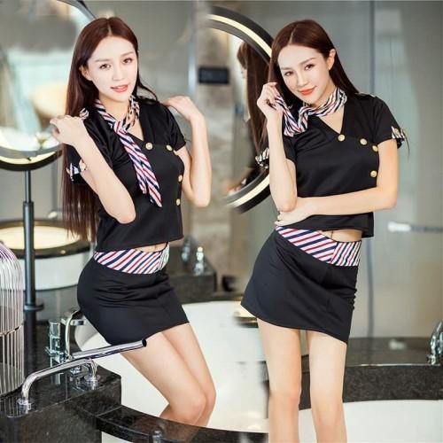 Foto Produk Sexy Lingerie Costume Pramugari Baju Tidur Kostum TA0436 BK dari Lingerie Murah Jogja