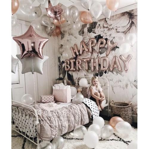 Foto Produk Set Balon Foil Elegant Happy Birthday Simple Rose Gold/Balon Dekorasi dari Balloonia