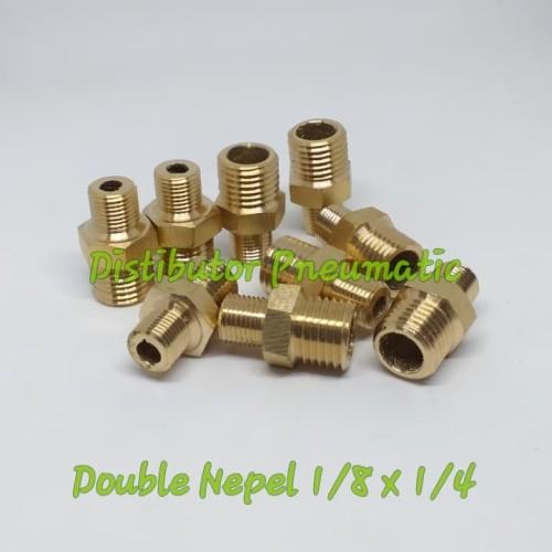 Foto Produk Double Nepel Brass Kuningan 1/8 x 1/4 dari distributor pneumatic