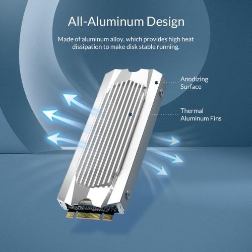 Foto Produk ORICO M.2 NVME SATA HeatSink Aluminum Double Side Thermal Pad - M2SRB - SILVER dari ORICO INDONESIA