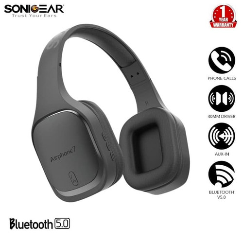 Foto Produk SonicGear Airphone 7 Bluetooth Headphones With Microphone - Gun Metal dari Sonicgear Official Store