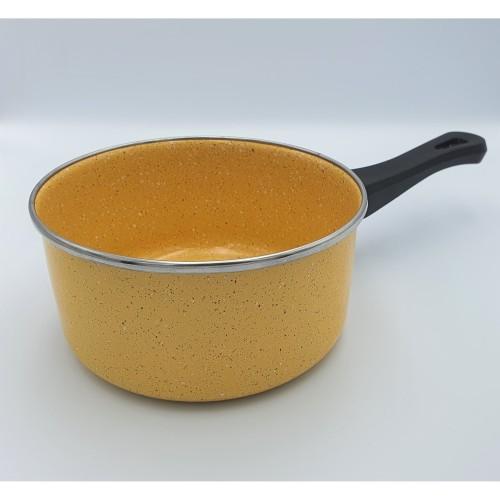 Foto Produk Panci susu enamel 17 cm Marble yellow / Milkpan enamel marble yellow dari deeBlues